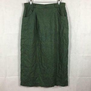 Gotcha Covered Green Flax A Line Skirt Sz 16